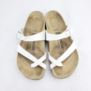 BIRKENSTOCK White Toe Strap Buckle Sandal Boho